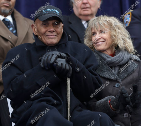 Harry Belafonte, Pamela Frank Harry Belafonte and his wife Pamela Frank attend a public inauguration ceremony at City Hall in New York