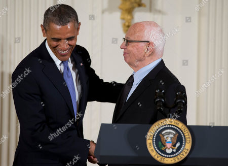 Barack Obama, Ellsworth Kelly President Barack Obama welcomes Ellsworth Kelly to the stage to award him the 2012 National Medal of Arts for his contributions as a painter, sculptor, and printmaker, during a ceremony in the East Room of White House in Washington