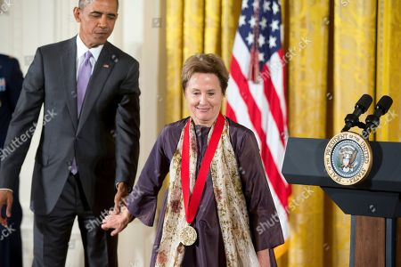 Barack Obama, Alice Waters President Barack Obama awards the 2014 National Humanities Medal to Chef, Author, and Advocate Alice Waters of Berkeley, Calif. during a ceremony in the East Room at the White House in Washington