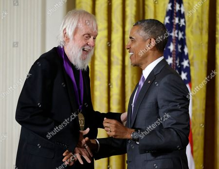 Barack Obama, John Baldessari President Barack Obama awards the 2014 National Medal of Arts to visual artist John Baldessari of Venice, Calif., during a ceremony in the East Room of the White House in Washington