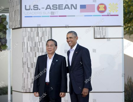 Barack Obama, Choummaly Sayasone President Barack Obama with Laos' president, Choummaly Sayasone, left, as at a meeting of ASEAN, the 10-nation Association of Southeast Asian Nations, at the Annenberg Retreat at Sunnylands in Rancho Mirage, Calif