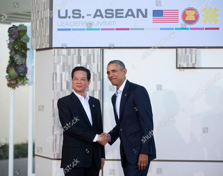 Barack Obama, Nguyen Tan Dung President Barack Obama greets Vietnam's prime minister, Nguyen Tan Dung, left, at a meeting of ASEAN, the 10-nation Association of Southeast Asian Nations, at the Annenberg Retreat at Sunnylands in Rancho Mirage, Calif., . Obama and the leaders of the Southeast Asian nations are gathering for two days of talks on economic and security issues and on forging deeper ties amid China's assertive presence in the region