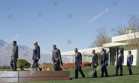 Barack Obama President Barack Obama, center, walks on stage with other leaders of ASEAN, the 10-nation Association of Southeast Asian Nations, in preparation of the group photo, at the Annenberg Retreat at Sunnylands in Rancho Mirage, Calif. Join Obama, from left are, Indonesian President Joko Widodo, Malaysia Prime Minister Najib Razak, Laos President Choummaly Sayasone, Philippine President Benigno Aquino III, Singapore Prime Minister Lee Hsien Loong, Thailand Prime Minister Prayuth Chan-ocha, Vietnam Prime Minister Nguyen Tan Dung, and Myanmar Vice President Nyan Tun