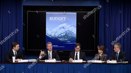 Stock Image of Josh Earnest, Shaun Donovan, Jason Furman, Cecilia Munoz, Jeff Zients Budget Director Shaun Donovan, second from left, speaks during the daily briefing in the South Court Auditorium at the White House in Washington, to discuss President Barack Obama's fiscal 2017 federal budget. From left are, White House Press Secretary Josh Earnest, Donovan, Council of Economic Advisers Chairman Jason Furman, Domestic Policy Council Director Cecilia Munoz, and National Economic Council Director Jeff Zients