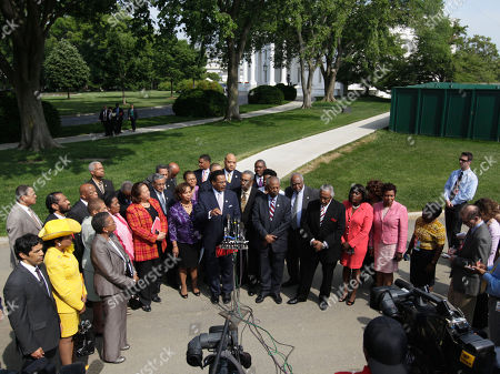 Emanuel Cleaver Congressional Black Caucus Chairman Rep. Emanuel Cleaver II, D-Mo., center, accompanied by fellow CBC members, speaks outside the White House in Washington, following their meeting with President Barack Obama