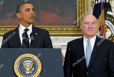 Barack Obama, Bill Daley President Barack Obama, accompanied by White House Chief of Staff William Daley, announces Daley is leaving and current Budget Director Jack Lew will take over as chief of staff, in the State Dining Room at the White House in Washington