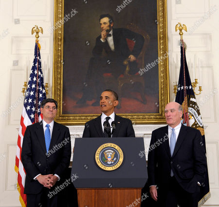 Barack Obama, Jabob Lew, Bill Daley President Barack Obama, flanked by outgoing White House Chief of Staff William Daley, right, and his replacement, current Budget Director Jack Lew, makes, the changes announcement, in the State Dining Room at the White House in Washington