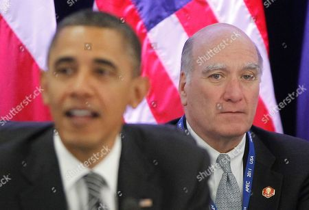 Barack Obama, William Daley White House Chief of Staff Bill Daley listens as President Barack Obama meets with the Trans-Pacific Partnership leaders during the APEC summit in Honolulu, Hawaii