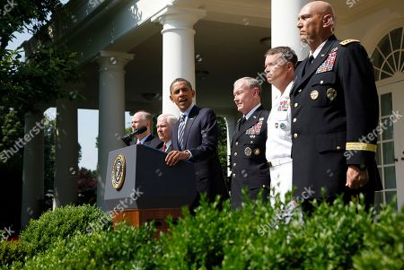 Barack Obama, Tom Donilon, Robert Gates, Martin Dempsey, James Winnefeld, Ray Odierno President Barack Obama introduces his choice for next Chairman of the Joint Chiefs of Staff, Army Gen. Martin Dempsey, third from right, the next vice chairman of the Joint Chiefs of Staff Adm. James Winnefeld and Gen. Ray Odierno, right, to be Army Chief of Staff during a Rose Garden announcement at the White House in Washington, . Also pictured are National Security Adviser Tom Donilon, far left, and Defense Secretary Robert Gates, second left