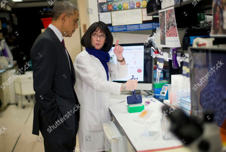 Barack Obama, Nancy Sullivan President Barack Obama, with Dr. Nancy Sullivan, center, Senior Investigator; Chief, Biodefense Research Section, National Institute of Allergy and Infectious Diseases, during a NIH tour of the Vaccine Research Center at the National Institutes of Health (NIH), in Bethesda, Md