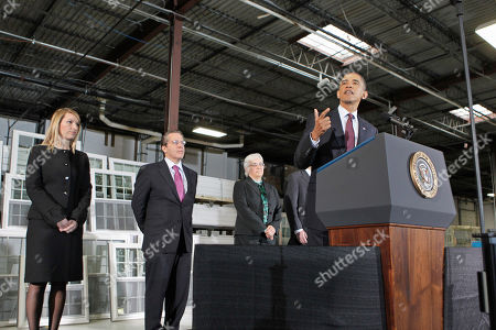 Barack Obama, Gene Sperling Speaking on a factory floor in Landover, Md., President Barack Obama announces Gene Sperling, second from left, as the new head of the National Economic Council, and other members of his economic team, during comments on nation's latest unemployment reports, at Thompson Creek Manufacturing. From left are: Heather Higginbottom, to be deputy director of the Office of Management and Budget; Sperling; and Katharine G. Abraham to the Council of Economic Advisers