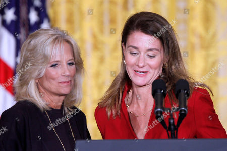 Melinda French Gates, Jill Biden Melinda French Gates, right, co-founder and co-chair of the Bill & Melinda Gates Foundation, is introduced by Dr. Jill Biden, left, wife of Vice President Joe Biden, during the White House Summit on Community Colleges, in the East Room of the White House in Washington