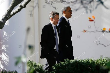 Barack Obama, Tim Geithner President Barack Obama walks with Treasury Secretary Timothy Geithner towards the Oval Office at the White House in Washington as he returns from speaking about the fiscal cliff at Business Roundtable, an association of chief executive officers