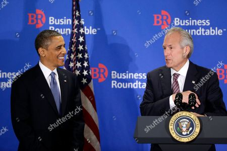"Barack Obama, Jim McNerney President Barack Obama is introduced by Jim McNerney, chief executive officer of The Boeing Company, before speaking about the fiscal cliff during an addresses before the Business Roundtable, an association of chief executive officers, in Washington. The president warned Republicans not to create another fight over the nation's debt ceiling, telling business leaders it's ""not a game that I will play"