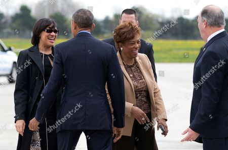 Barack Obama, Karen Weaver, Dan Kildee President Barack Obama is greeted by Flint, Mich. Mayor Karen Weaver, left, and Rep. Brenda Lawrence, D-Mich., third from left, as he arrives on Air Force One at Bishop International Airport in Flint, Mich., . at the far right is Rep. Dan Kildee, D-Mich. The president is in Flint, Mich., to discuss the ongoing water crisis