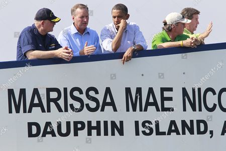 Barack Obama President Barack Obama, third from left, takes a ferry from Dauphin Island, Ala., to Fort Morgan, Ala., as he visits the Gulf Coast region affected by the BP Deepwater Horizon oil spill . From left, National Incident Commander Adm. Thad Allen; Mayor of Dauphin Island Jeff Collier; Obama; Mayor of Gulf Shores Robert Craft; and Alabama Gov. Bob Riley