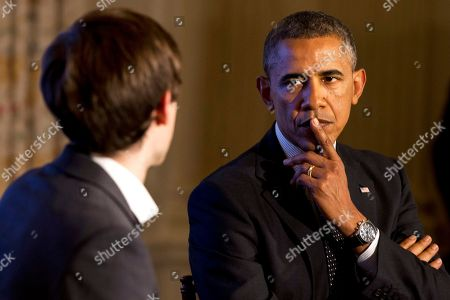 """Barack Obama, David Karp President Barack Obama listens to a question during a Tumblr forum from the State Dining Room of the White House in Washington, moderated by Tumblr Founder and CEO David Karp, left. During the forum Obama conceded he was ashamed as an American and terrified as a parent that the United States can't find it in its soul to put a stop to rampant shooting sprees. Barring a fundamental shift in public opinion, Obama said, """"it will not change"""