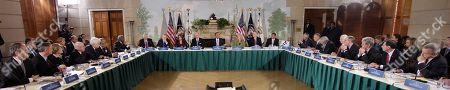 Barack Obama, Jim Cooper, Robert E. Andrews, Louis M. Slaughter, Henry Waxman, George Miller, Charles Rangle, John Dingle, James E. Clyburn, Steny Hoyer, Harry Reid, Nancy Pelosi, Joe Biden, Kathleen Sebelius, Mitch McConnell, John A. Boehner, Jon Kyl, Charles Grassley, Mike Enzi, John McCain, Lamar Alexander, Tom Coburn, John Barrasso, Richard J. Durbin President Barack Obama, center, takes part in health care reform meeting with Republican and Democratic leaders, in the Blair House in Washington. Around the table, from left are, Rep. Jim Cooper, D-Tenn., Rep. Robert E. Andrews, D-N.J., Rep. Louise Slaughter, D-N.Y., Rep. Henry Waxman, D-Calif., Rep. George Miller, D-Calif., Rep. Charles Rangel, D-N.Y., Rep. John Dingle, D-Mich., House Majority Whip James Clyburn of S.C., House Majority Leader Steny Hoyer of Md., Senate Majority Leader Harry Reid of Nev., House Speaker Nancy Pelosi of Calif., Vice President Joe Biden, the president, Health and Human Services Secretary Kathleen Sebelius, Senate Minority Leader Mitch McConnell of Ky., House Minority Leader John Boehner of Ohio, Senate Minority Whip Jon Kyl of Ariz., Sen. Charles Grassley, R-Iowa, Sen. Mike Enzi, R-Wyo, Sen. John McCain R-Ariz., Sen. Lamar Alexander, R-Tenn., Sen. Tom Coburn, R-Okla., Sen. John Barrasso, R-Wyo., and Senate Majority Whip Richard Durbin and Ill