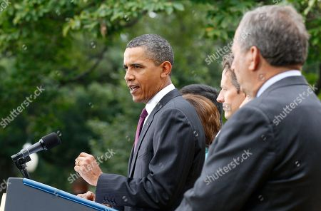 Barack Obama, Timothy Geithner, Lawrence Summers President Barack Obama, center, delivers a statement on monthly jobs number, in Rose Garden of the White House in Washington. From left are, Treasury Secretary Timothy Geithner, and National Economic Council Director Lawrence Summers