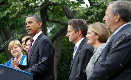Barack Obama, Timothy Geithner, Christina Romer, Gary Locke, Hilda Solis, Timonthy Geithner, Karen G. Mills, Lawrence Summers President Barack Obama, center, delivers a statement on monthly jobs number, in Rose Garden of the White House in Washington. From left are, outgoing Council of Economic Advisers Chair Christina Romer, Commerce Secretary Gary Locke, Labor Secretary Hilda Solis, the president, Treasury Secretary Timothy Geithner, Small Business Administrator (SBA) Karen G. Mills and National Economic Council Director Lawrence Summers