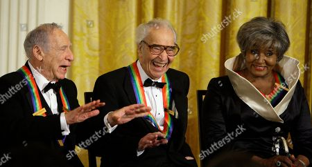 Stock Picture of Mel Brooks, Dave Brubeck, Grace Bumbry Kennedy Center honorees Mel Brooks, left, Dave Brubeck and Grace Bumbry react during an event in the East Room of the White House with President Obama in Washington
