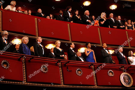 Barack Obama, Michelle Obama, Barbara Cook, Neil Diamond, Yo-Yo Ma, Sonny Rollins, Meryl Streep 2011 Kennedy Center Honors recipients from bottom left, saxophonist and composer Sonny Rollins, singer Barbara Cook, singer and songwriter Neil Diamond, actress Meryl Streep, and cellist Yo-Yo Ma, listen to the National Anthem with first lady Michelle Obama and President Barack Obama, from the upper balcony during the 2011 Kennedy Center Honors Gala at the Kennedy Center, in Washington, on
