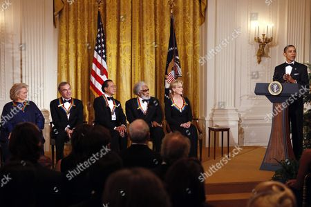 Barack Obama, Barbara Cook, Neil Diamond, Yo-Yo Ma, Sonny Rollins, Meryl Streep President Barack Obama, right, delivers remarks at a reception for the recipients of the 2011 Kennedy Center Honors, from left, singer Barbara Cook, singer and songwriter Neil Diamond, cellist Yo-Yo Ma, saxophonist and composer Sonny Rollins, and actress Meryl Streep, in the East Room of the White House, in Washington, on