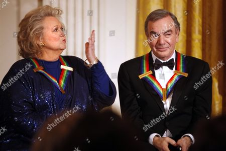 Barbara Cook, Neil Diamond Singer Barbara Cook, left, blows a kiss to President Barack Obama, not pictured, during his remarks, next to fellow 2011 Kennedy Center Honors recipient, singer and songwriter Neil Diamond, during a reception for the honorees in the East Room of the White House, in Washington, on