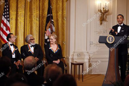 Barack Obama, Yo-Yo Ma, Sonny Rollins, Meryl Streep President Barack Obama, right, delivers remarks at a reception for the recipients of the 2011 Kennedy Center Honors, including from left, cellist Yo-Yo Ma, saxophonist and composer Sonny Rollins, and actress Meryl Streep, in the East Room of the White House, in Washington, on