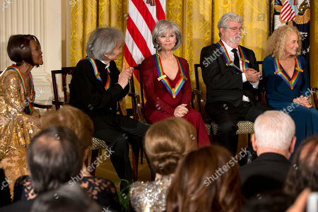 Carole King, George Lucas, Rita Moreno, Seiji Ozawa, Cicely Tyson 2015 Kennedy Center Honors honorees from left, actress Cicely Tyson, conductor Seiji Ozawa, actress and singer Rita Moreno, filmmaker George Lucas, and singer-songwriter Carole King, listen as President Barack Obama speaks at the 2015 Kennedy Center Honors reception in the East Room of the White House in Washington