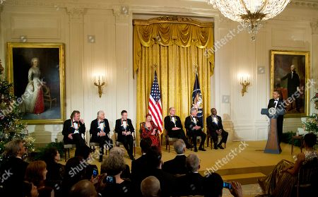 Barack Obama, Buddy Guy, Dustin Hoffman, David Letterman, Natalia Makarova, John Paul Jones, Jimmy Page, Robert Plant President Barack Obama, right, with the 2012 Kennedy Center Honors recipients, from left, rock band Led Zeppelin singer Robert Plant, guitarist Jimmy Page, and keyboardist/bassist John Paul Jones, ballerina Natalia Makarova, comedian and television host David Letterman, actor and director Dustin Hoffman and bluesman Buddy Guy, speaks during a reception for the honorees in the East Room of the White House in Washington