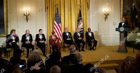 Barack Obama, Buddy Guy, Dustin Hoffman, David Letterman, Natalia Makarova, John Paul Jones, Jimmy Page, Robert Plant President Barack Obama with the 2012 Kennedy Center Honors recipients, from left, rock band Led Zeppelin, singer Robert Plant, guitarist Jimmy Page, and keyboardist/bassist John Paul Jones, ballerina Natalia Makarova, comedian and television host David Letterman, actor and director Dustin Hoffman and bluesman Buddy Guy, speaks during a reception hosted by President Barack Obama and first lady Michelle Obama for the honorees in the East Room of the White House in Washington, . While Led Zeppelin is being honored as a band, surviving members John Paul Jones, Jimmy Page, and Robert Plant, each received the Kennedy Center Honors