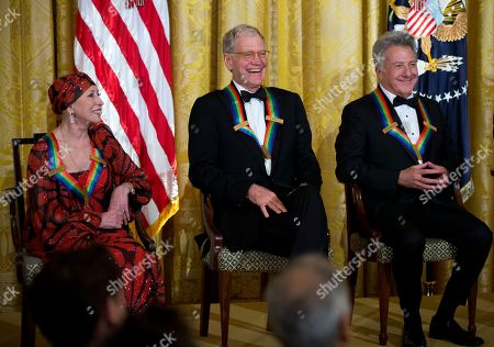 Dustin Hoffman, David Letterman, Natalia Makarova Recipients of the 2012 Kennedy Center Honors, from left, ballerina Natalia Makarova, comedian and television host David Letterman, actor and director Dustin Hoffman, laugh during a reception hosted by President Barack Obama and first lady Michelle Obama for the honorees in the East Room of the White House in Washington