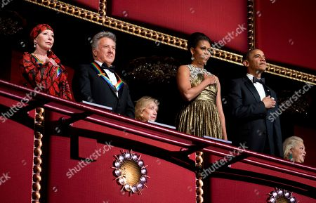 Barack Obama, Dustin Hoffman, Natalia Makarova President Barack Obama, right, and first lady Michelle Obama, second from right, with the 2012 Kennedy Center Honors recipients, ballerina Natalia Makarova, left, and actor and director Dustin Hoffman, stand as the National Anthem is played during the Kennedy Center Honors Gala at the Kennedy Center in Washington