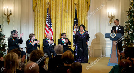 Barack Obama, Martina Arroyo, Herbie Hancock, Billy Joel, Shirley MacLaine, Carlos Santana President Barack Obama, right, and the 2013 Kennedy Center Honors recipients, from left; Carlos Santana, Shirley MacLaine, Billy Joel and Herbie Hancock, as honoree Martina Arroyo, is introduced during a reception honoring the 2013 Kennedy Center Honors recipients, in the East Room of the White House in Washington