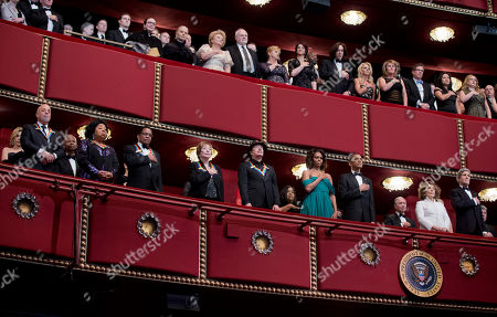 Barack Obama, Michelle Obama, Martina Arroyo, Herbie Hancock, Billy Joel, Shirley MacLaine, Carlos Santana, John Kerry, Teresa Hines The recipients of the 2013 Kennedy Center Honors Billy Joel,from left, Martina Arroyo, Herbie Hancock, Shirley MacLaine, and Carlos Santana, together with first lady Michelle Obama, President Barack Obama, Teresa Hines, and Secretary of State John Kerry, listen as the National Anthem is played during the 2013 Kennedy Center Honors Gala at the Kennedy Center in Washington