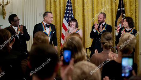 Al Green, Tom Hanks, Patricia McBride, Sting, comedienne Lily Tomlin The 2014 Kennedy Center Honors Honorees, singer Al Green, from left, actor and filmmaker Tom Hanks, ballerina Patricia McBride, singer-songwriter Sting, and comedienne Lily Tomlin, give their applause as Hanks is recognized by President Barack Obama, during a reception in the East Room of the White House in Washington, hosted by the president and first lady Michelle Obama, honoring the the Kennedy Center Honorees