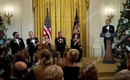Barack Obama, Al Green, Tom Hanks, Patricia McBride, Sting, Lily Tomlin The 2014 Kennedy Center Honors Honorees, singer Al Green, from left, actor and filmmaker Tom Hanks, ballerina Patricia McBride, singer-songwriter Sting, and comedienne Lily Tomlin, give their applause as President Barack Obama speaks, during a reception in the East Room of the White House in Washington, hosted by the president and first lady Michelle Obama, honoring the the Kennedy Center Honorees