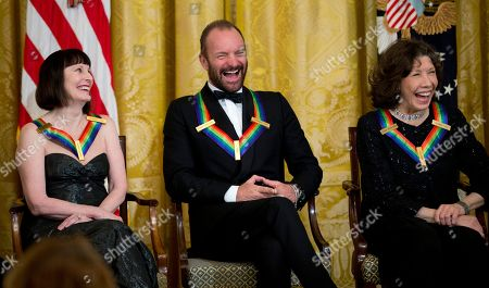 Patricia McBride, Sting, Lily Tomlin The 2014 Kennedy Center Honors Honorees ballerina Patricia McBride, from left, singer-songwriter Sting, and comedienne Lily Tomlin, laugh during a reception in their honor in the East Room of the White House in Washington, hosted by President Barack Obama and first lady Michelle Obama