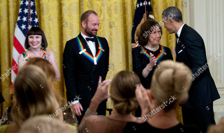 Barack Obama, Patricia McBride, Sting, Lily Tomlin President Barack Obama, congratulates the 2014 Kennedy Center Honors Honorees, from left, ballerina Patricia McBride, singer-songwriter Sting, and comedienne Lily Tomlin, during a reception in their honor in the East Room of the White House in Washington