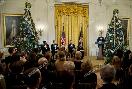 Barack Obama, Al Green, Tom Hanks, Patricia McBride, Sting, Lily Tomlin The 2014 Kennedy Center Honors Honorees, singer Al Green, from left, actor and filmmaker Tom Hanks, ballerina Patricia McBride, singer-songwriter Sting, and comedienne Lily Tomlin, are introduced by President Barack Obama speaks, during a reception in the East Room of the White House in Washington, hosted by the president and first lady Michelle Obama, honoring the the Kennedy Center Honorees