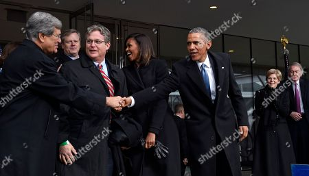 Barack Obama, Michelle Obama, Trent Lott, Ted Kennedy Jr., Charlie Baker, Elizabeth Warren Edward Markey President Barack Obama shakes hands with former Senate Majority Leader Trent Lott of Mississippi, as Connecticut State Sen. Ted Kennedy Jr., watches during the dedication of the Edward M. Kennedy Institute for the United States Senate in Boston, . The $79 million Edward M. Kennedy Institute for the United States Senate dedication is a politically star-studded event attended by President Barack Obama, Vice President Joe Biden and past and present senators of both parties. It sits next to the presidential library of Kennedy's brother, John F. Kennedy. From left are, Lott, Massachusetts Gov. Charlie Baker, first lady Michelle Obama, the president, Sen. Elizabeth Warren, D-Mass., and Sen. Edward Markey, D-Mass