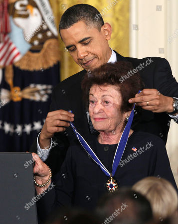 Stock Picture of Barack Obama, Gerda Weissmann Klein President Barack Obama awards Holocaust survivor and author Gerda Weissmann Klein a 2010 Medal of Freedom during a ceremony in the East Room of the White House in Washington
