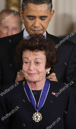 Stock Photo of Barack Obama, Gerda Weissmann Klein President Barack Obama awards Holocaust survivor and author Gerda Weissmann Klein a 2010 Medal of Freedom during a ceremony in the East Room of the White House in Washington