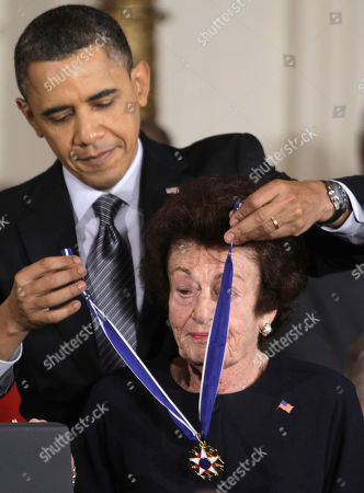 Stock Image of Barack Obama, Gerda Weissmann Klein President Barack Obama awards Holocaust survivor and author Gerda Weissmann Klein a 2010 Medal of Freedom during a ceremony in the East Room of the White House in Washington