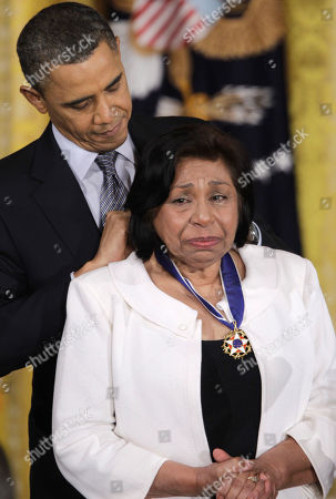 Stock Image of Barack Obama, Sylvia Mendez President Barack Obama awards civil rights activist Sylvia Mendez the 2010 Medal of Freedom during a ceremony in the East Room of the White House in Washington