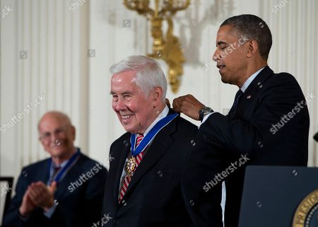 Barack Obama, Richard Lugar President Barack Obama awards former Indiana Sen. Richard Lugar with the Presidential Medal of Freedom, during a ceremony in the East Room of the White House in Washington