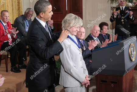 Barack Obama, Jean Kennedy Smith President Barack Obama presents a Medal of Freedom to Jean Kennedy Smith during a ceremony in the East Room of the White House in Washington