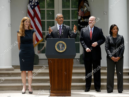 Barack Obama, Susan Rice, Tom Donilon, Samantha Power President Barack Obama stands with UN Ambassador Susan Rice, right, his choice to be his next National Security Adviser, current National Security Advisor Tom Donilon, who is resigning, and Samantha Power, his nominee to be the next UN Ambassador, left, in the Rose Garden of the White House in Washington, where he made the announcment