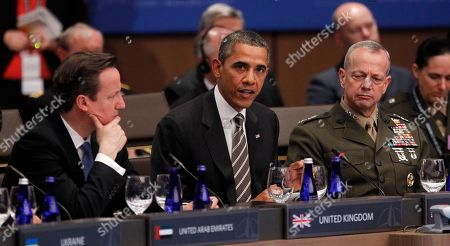 Barack Obama, Carl Bildt, John R. Allen, David Cameron President Barack Obama speaks at the start of the International Security Assistance Force (ISAF) meeting on Afghanistan at the NATO Summit in Chicago, . From left are, British Prime Minister David Cameron, left, and Gen. John R. Allen, Commander of the International Security Assistance Force